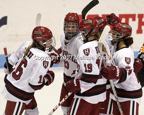 - The Harvard University Crimson tied the Boston University Terriers 6-6 on Monday, February 7, 2017, in the Beanpot consolation game at Matthews Arena in Boston, Massachusetts.