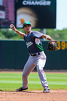 Clinton LumberKings shortstop Johnny Adams (26) throws the ball around the horn during a Midwest League game against the Cedar Rapids Kernels on May 28, 2018 at Perfect Game Field at Veterans Memorial Stadium in Cedar Rapids, Iowa. Clinton defeated Cedar Rapids 4-3. (Brad Krause/Four Seam Images)