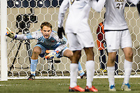 Notre Dame Fighting Irish goalkeeper Patrick Wall (1) lines up the wall prior to a Maryland Terrapins free kick. The Notre Dame Fighting Irish defeated the Maryland Terrapins 2-1 during the championship match of the division 1 2013 NCAA  Men's Soccer College Cup at PPL Park in Chester, PA, on December 15, 2013.