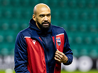 12th February 2020; Easter Road, Edinburgh, Scotland; Scottish Premiership Football, Hibernian versus Ross County; Liam Fontaine of Ross County inspects the pitch before kick off