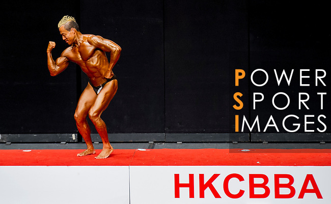 A bodybuilder competes in the Men's Master Bodybuilding (over 40 year old) category during the 2016 Hong Kong Bodybuilding Championships on 12 June 2016 at Queen Elizabeth Stadium, Hong Kong, China. Photo by Lucas Schifres / Power Sport Images