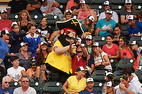 Bradenton Marauders mascot Marty takes selfies with fans during a game against the Lakeland Flying Tigers on April 16, 2016 at McKechnie Field in Bradenton, Florida.  Lakeland defeated Bradenton 7-4.  (Mike Janes/Four Seam Images)