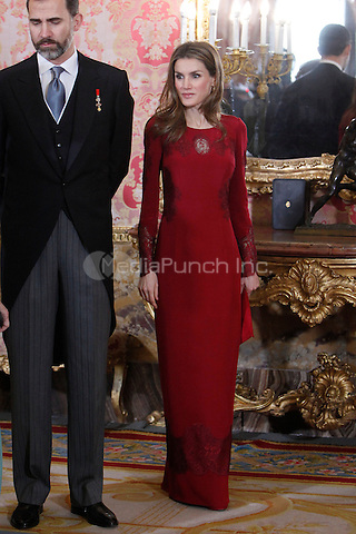 Princess Letizia of Spain and Prince Felipe of Spain attends the reception of the diplomatic corps in Spain at Palacio Real. January 23, 2013. (ALTERPHOTOS/Caro Marin) /NortePhoto /MediaPunch Inc. ***FOR USA ONLY***