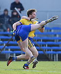 Keelan Sexton of Clare in action against Niall Daly of Roscommon during their National League game at Cusack Park. Photograph by John Kelly.