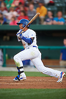 South Bend Cubs shortstop Gleyber Torres (7) at bat during a game against the Cedar Rapids Kernels on June 5, 2015 at Four Winds Field in South Bend, Indiana.  South Bend defeated Cedar Rapids 9-4.  (Mike Janes/Four Seam Images)