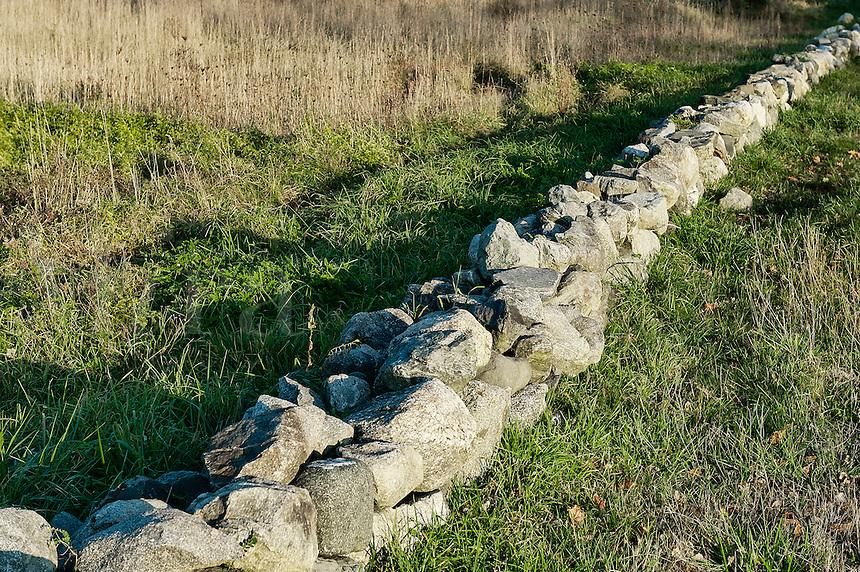 Rustic fieldstone wall, Massachusetts, USA