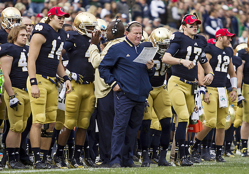 October 20, 2012:  Notre Dame head coach Brian Kelly on the sidelines during NCAA Football game action between the Notre Dame Fighting Irish and the BYU Cougars at Notre Dame Stadium in South Bend, Indiana.  Notre Dame defeated BYU 17-14.