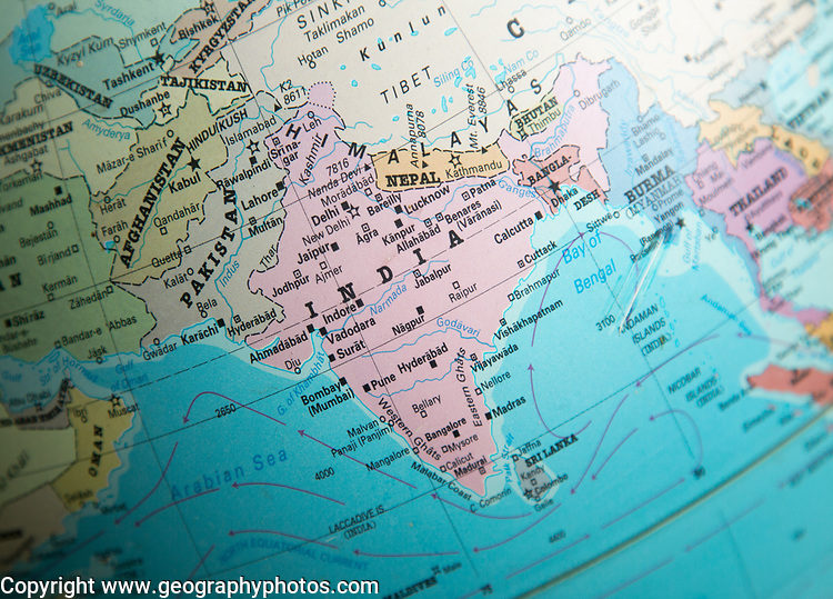 Indian sub-continent map on a globe focused on India