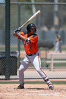 San Francisco Giants Orange right fielder Franklin Labour (49) at bat during an Extended Spring Training game against the Oakland Athletics at the Lew Wolff Training Complex on May 29, 2018 in Mesa, Arizona. (Zachary Lucy/Four Seam Images)