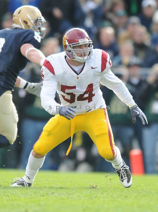 CHRIS GALIPPO, of the USC Trojans, in action during the Trojans game against the Notre Dame Fighting Irish on October 17, 2009 in South Bend, Indiana. The Trojans  beat the irish  34-27 ..