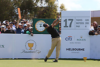 Hideki Matsuyama (International) on the 17th tee during the First Round - Four Ball of the Presidents Cup 2019, Royal Melbourne Golf Club, Melbourne, Victoria, Australia. 12/12/2019.<br /> Picture Thos Caffrey / Golffile.ie<br /> <br /> All photo usage must carry mandatory copyright credit (© Golffile | Thos Caffrey)