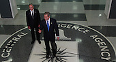 Langley, VA - March 3, 2005 -- United States President George W. Bush and Director of the Central Intelligence Agency (CIA) J. Porter Goss answer questions from the media after President Bush met with CIA workers at the CIA Headquarters, Langley, VA on March 3, 2005.  <br /> Credit: Dennis Brack - Pool via CNP