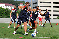 New York Red Bulls Chris Albright (3) and Thierry Henry (14) go for a ball during a New York Red Bulls practice on the campus of Montclair State University in Upper Montclair, NJ, on July 16, 2010.