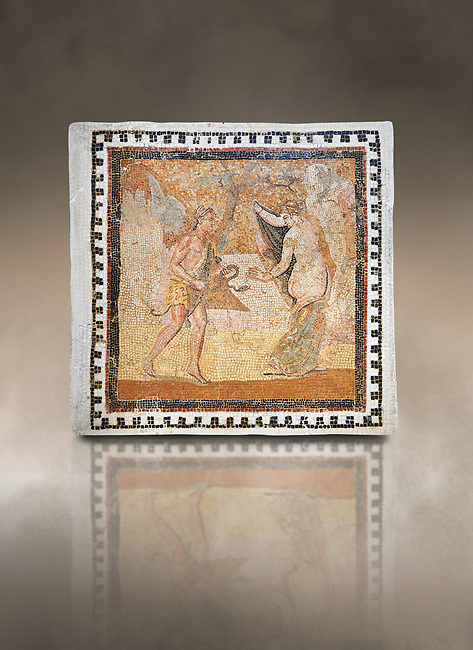 Picture of a Roman mosaics design depicting a Satyr persuing Bacchante, from the ancient Roman city of Thysdrus. End of 2nd century AD, House in Jiliani Guirat area. El Djem Archaeological Museum, El Djem, Tunisia. Against an art background