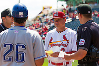 Springfield Cardinals manager Mike Shildt #8 talks about lineups prior to a game against the Tulsa Drillers at Hammons Field on May 7, 2013 in Springfield, Missouri. (David Welker/Four Seam Images)