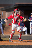 Belmont Abbey Crusaders catcher Drew Sipp (5) on defense against the Shippensburg Raiders at Abbey Yard on February 8, 2015 in Belmont, North Carolina.  The Raiders defeated the Crusaders 14-0.  (Brian Westerholt/Four Seam Images)