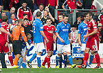 St Johnstone v Aberdeen...23.08.14  SPFL<br /> Ref Craig Thomson books Peter Pawlett for diving<br /> Picture by Graeme Hart.<br /> Copyright Perthshire Picture Agency<br /> Tel: 01738 623350  Mobile: 07990 594431