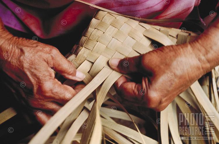 Weaving lauhala mat