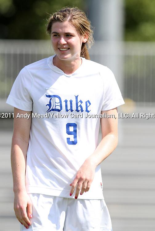 11 September 2011: Duke's Kelly Cobb. The Duke University Blue Devils defeated the University of North Carolina at Greensboro Spartans 2-0 at Koskinen Stadium in Durham, North Carolina in an NCAA Division I Women's Soccer game.