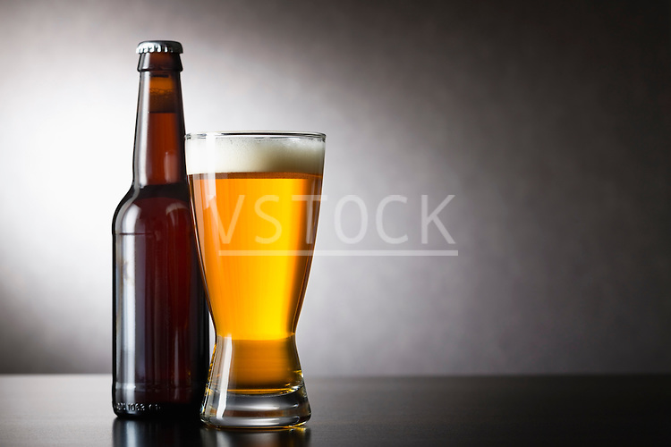 Beer in bottle and drinking glass