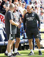 Preston North End manager Alex Neil talks to his coaching staff ahead of kick-off<br /> <br /> Photographer Rich Linley/CameraSport<br /> <br /> The EFL Championship - Preston North End v Sheffield Wednesday - Saturday August 24th 2019 - Deepdale Stadium - Preston<br /> <br /> World Copyright © 2019 CameraSport. All rights reserved. 43 Linden Ave. Countesthorpe. Leicester. England. LE8 5PG - Tel: +44 (0) 116 277 4147 - admin@camerasport.com - www.camerasport.com