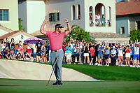 Jon Rahm (ESP) on the 18th green celebrating after winning  the DP World Tour Championship and race to Dubai at the Jumeirah Golf Estates, Dubai, United Arab Emirates. 24/11/2019<br /> Picture: Golffile | Fran Caffrey<br /> <br /> <br /> All photo usage must carry mandatory copyright credit (© Golffile | Fran Caffrey)