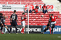 Aden Flint of Swindon scores their first goal. Swindon Town v Stevenage - npower League 1 -  County Ground, Swindon - 20th April, 2013. © Kevin Coleman 2013..
