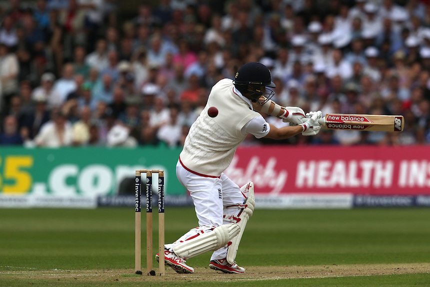 England's Mark Wood nicks a ball for four runs off the bowling off Australia's Mitchell Johnson<br /> <br /> Photographer Stephen White/CameraSport<br /> <br /> International Cricket - Investec Ashes Test Series 2015 - Fourth Test - England v Australia - Day 2 - Friday 7th August 2015 - Trent Bridge - Nottingham <br /> <br /> &copy; CameraSport - 43 Linden Ave. Countesthorpe. Leicester. England. LE8 5PG - Tel: +44 (0) 116 277 4147 - admin@camerasport.com - www.camerasport.com