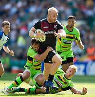 Vincent Koch of Saracens looks to get past Nic Groom and Harry Mallinder of Northampton Saints. Aviva Premiership match, between Saracens and Northampton Saints on September 2, 2017 at Twickenham Stadium in London, England. Photo by: Patrick Khachfe / JMP