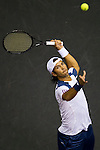 BANGKOK, THAILAND - SEPTEMBER 30:  Fernando Verdasco of Spain retuns a ball against Benjamin Becker of Germany during the Day 6 of the PTT Thailand Open at Impact Arena on September 30, 2010 in Bangkok, Thailand. Photo by Victor Fraile / The Power of Sport Images