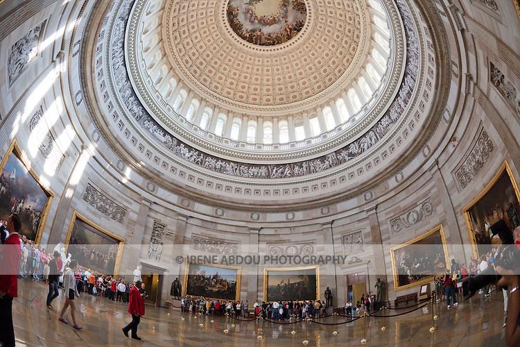Visitors tour the rotunda of the U.S. Capitol in Washington, D.C.