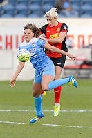 Bridgeview, IL, USA - Saturday, April 23, 2016: Chicago Red Stars forward Sofia Huerta (11) and Western New York Flash midfielder Abigail Dahlkemper (13) during a regular season National Women's Soccer League match between the Chicago Red Stars and the Western New York Flash at Toyota Park. Chicago won 1-0.