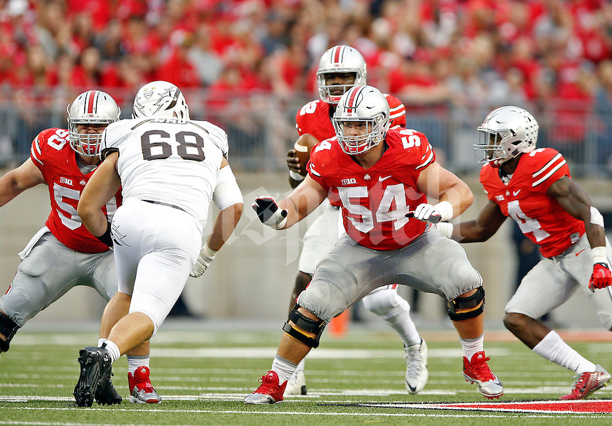 Ohio State Buckeyes offensive lineman Jacoby Boren (50) and Ohio State Buckeyes offensive lineman Billy Price (54) against Western Michigan Broncos in their game at Ohio Stadium on September 26, 2015.  (Dispatch photo by Kyle Robertson)