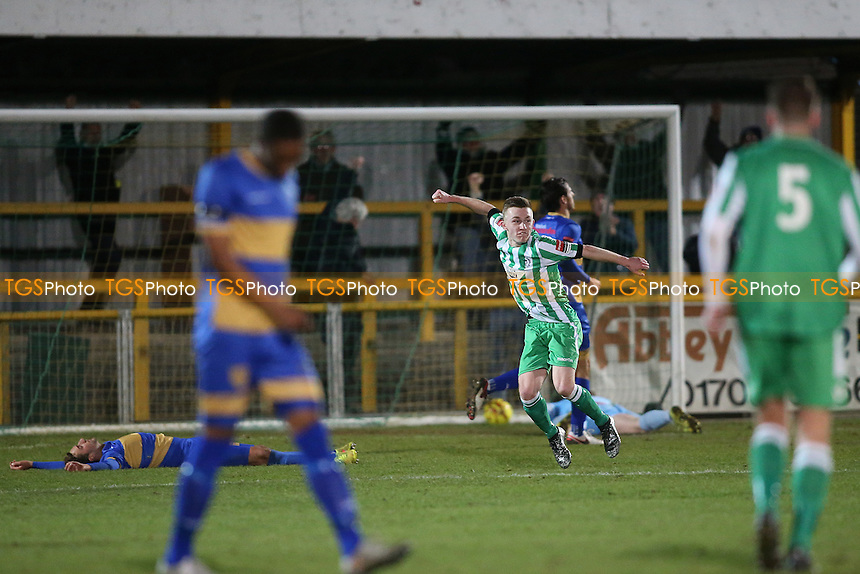 Dan Hobbs scores the fourth goal for Soham and celebrates during Romford vs Soham Town Rangers, Ryman League Division 1 North Football at Ship Lane on 3rd December 2016
