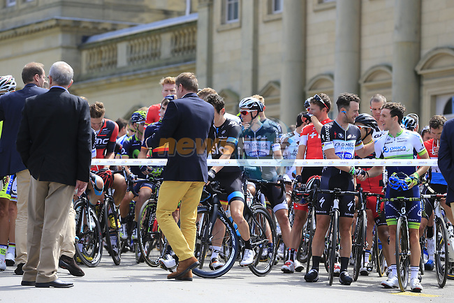 Riders line up outside Harewood House before the official start Stage 1 of the 2014 Tour de France running 190.5km from Leeds to Harrogate. 5th July 2014.<br /> Picture: Eoin Clarke www.newsfile.ie