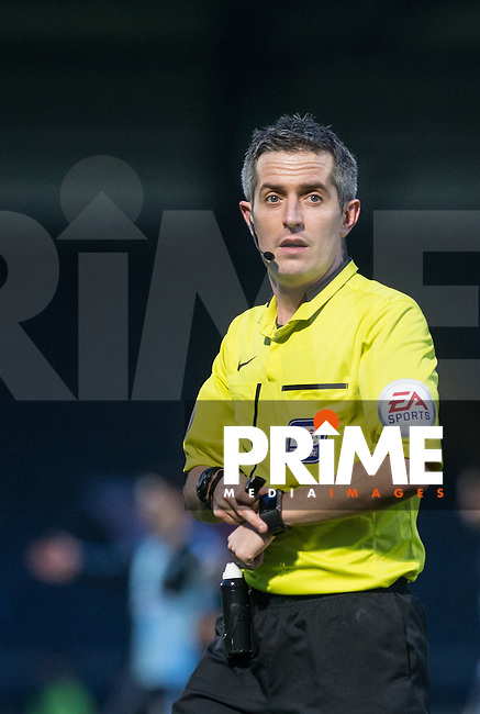 Referee Darren Bond during the Sky Bet League 2 match between Wycombe Wanderers and Leyton Orient at Adams Park, High Wycombe, England on 23 January 2016. Photo by Andy Rowland / PRiME Media Images.