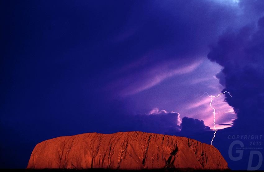 Composite image, Ayers Rock - Uluru and Lightning, Australia