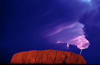 Composite image, Ayers Rock - Uluru and Lightning, Australia
