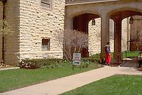 Homeless man 36 entering church soup kitchen.  Evanston Illinois USA