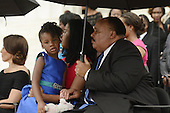 Martin Luther King III (R), Arndrea Waters King (2-R) and their daughter Yolanda Renee King (L) attend the 'Let Freedom Ring' commemoration event, at the Lincoln Memorial in Washington DC, USA, 28 August 2013. The event was held to commemorate the 50th anniversary of the 28 August 1963 March on Washington led by the late Dr. Martin Luther King Jr., where he famously gave his 'I Have a Dream' speech.<br /> Credit: Michael Reynolds / Pool via CNP