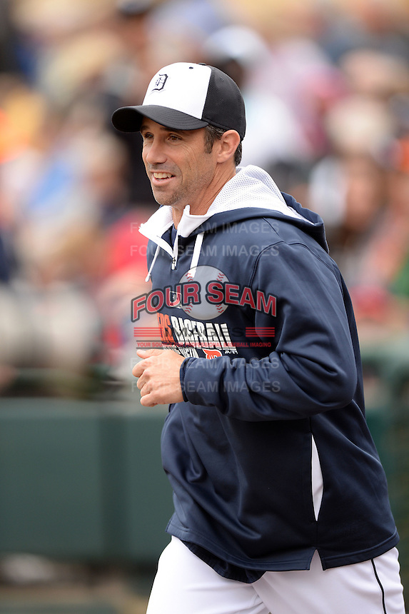 Detroit Tigers manager Brad Ausmus (7) before a spring training game against the Atlanta Braves on February 27, 2014 at Joker Marchant Stadium in Lakeland, Florida.  Detroit defeated Atlanta 5-2.  (Mike Janes/Four Seam Images)