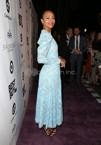 LOS ANGELES, CA - NOVEMBER 8: Zoe Saldana at the Eva Longoria Foundation Dinner Gala honoring Zoe Saldana and Gina Rodriguez at The Four Seasons Beverly Hills in Los Angeles, California on November 8, 2018. Credit: Faye Sadou/MediaPunch