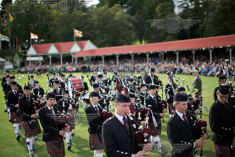 A massing of the pipes begins the Braemar Gathering Games in the heart of the Highlands in Aberdeenshire.