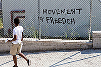 Pictured: A &quot;Movement Of Freedom&quot; graffiti on one of the walls.<br /> Re: Everyday life at the Moria refugee camp on the island of Lesbos, Greece.