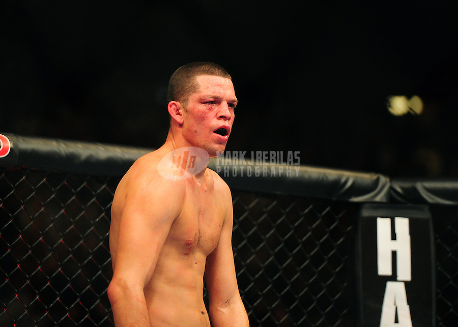 Dec. 30, 2011; Las Vegas, NV, USA; UFC fighter Nate Diaz during a lightweight bout at UFC 141 at the MGM Grand Garden event center. Mandatory Credit: Mark J. Rebilas-