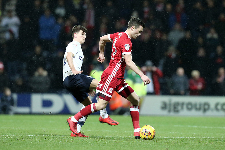 Middlesbrough's Jonathan Howson under pressure from Preston North End's Tom Clarke<br /> <br /> Photographer Rich Linley/CameraSport<br /> <br /> The EFL Sky Bet Championship - Preston North End v Middlesbrough - Monday 1st January 2018 - Deepdale Stadium - Preston<br /> <br /> World Copyright &copy; 2018 CameraSport. All rights reserved. 43 Linden Ave. Countesthorpe. Leicester. England. LE8 5PG - Tel: +44 (0) 116 277 4147 - admin@camerasport.com - www.camerasport.com