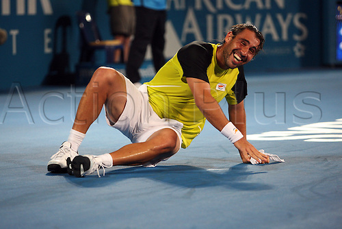 January 16 2010:  Marcos Baghdatis (CYP) celebrates his 6-4, 7-6 win over Richard Gasquet (FRA) in the final of the Sydney Medibank International played at Sydney Olympic Park Tennis Centre, NSW, Australia.Photo: Rob Sheeley/Actionplus- Editorial Use Only..