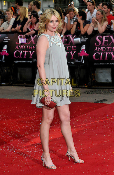 "KEELEY HAWES.Red Carpet Arrivals at the ""Sex And The City"" Movie World Premiere, Odeon Leicester Square, London, England, UK,.May 12th 2008..full length brown grey beige dress shoes clutch bag purse silver strappy sandals.CAP/PL.©Phil Loftus/Capital Pictures"