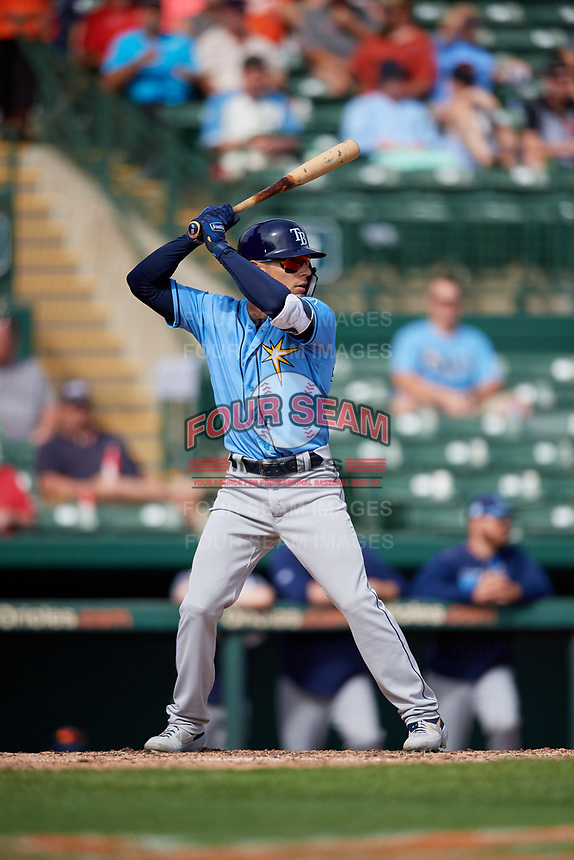 Tampa Bay Rays pinch hitter Andrew Velazquez (11) at bat during a Grapefruit League Spring Training game against the Baltimore Orioles on March 1, 2019 at Ed Smith Stadium in Sarasota, Florida.  Rays defeated the Orioles 10-5.  (Mike Janes/Four Seam Images)