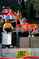 LE MANS, FRANCE: The crew of Joest Racing at work in the signalling pits at the end of the Mulsanne Straight during the 24 Hours of Le Mans on June 17, 1984, at the Circuit de la Sarthe in Le Mans, France.